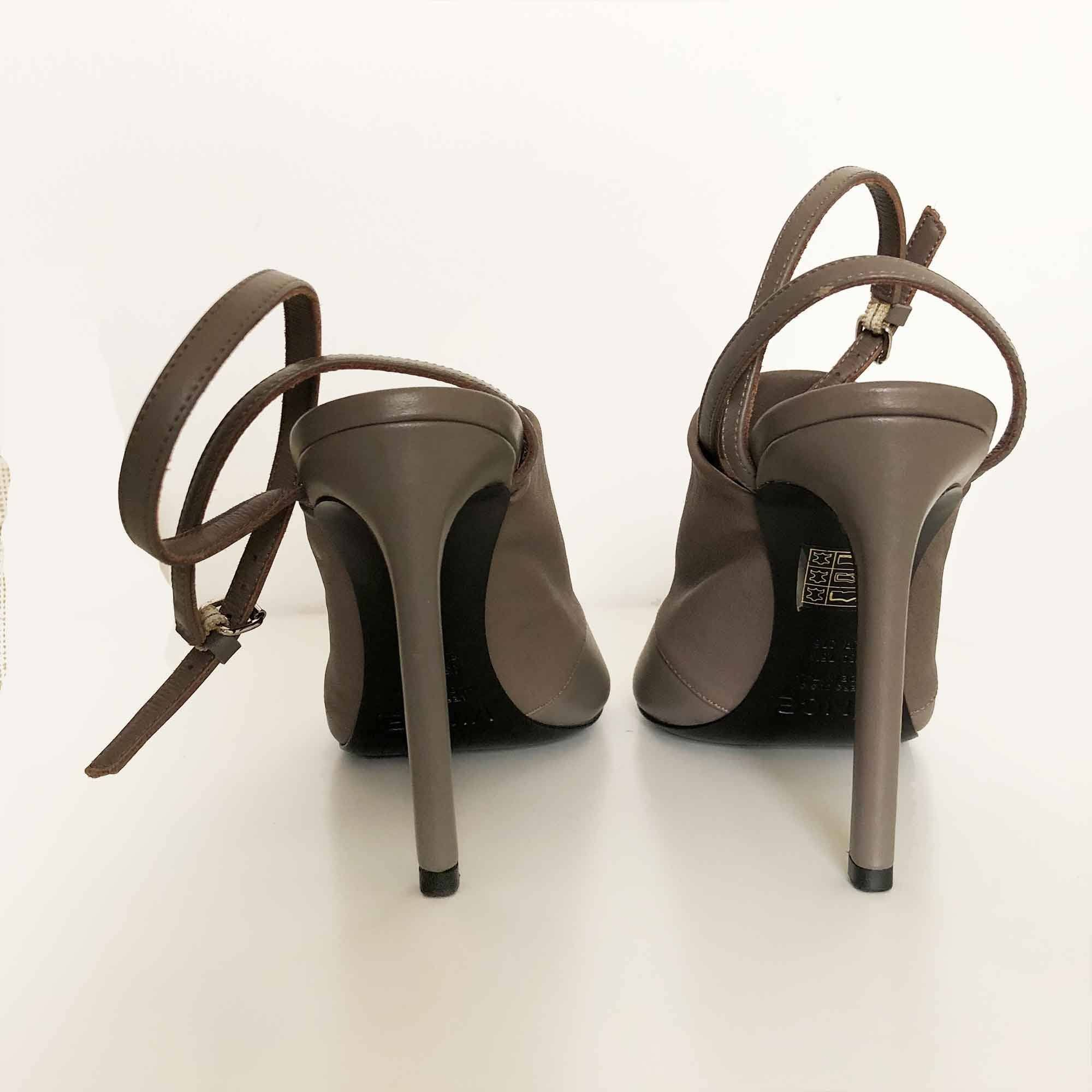 Vince Grey Ankle Strap Mules