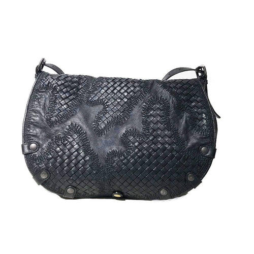 Bottega Veneta Black Intrecciato Crossbody Bag  w/detail