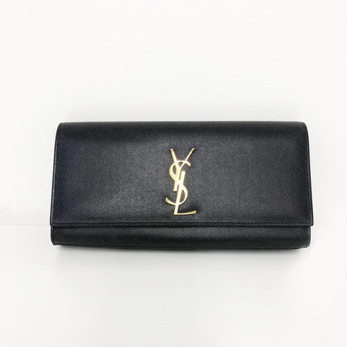 Saint Laurent  Black Cassandre leather clutch
