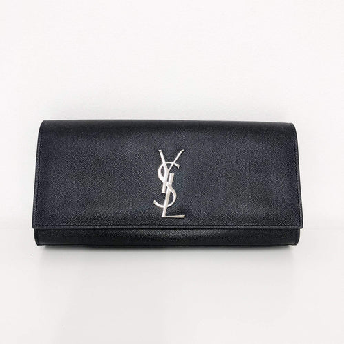 Saint Laurent  Black Cassandre leather clutch SHW