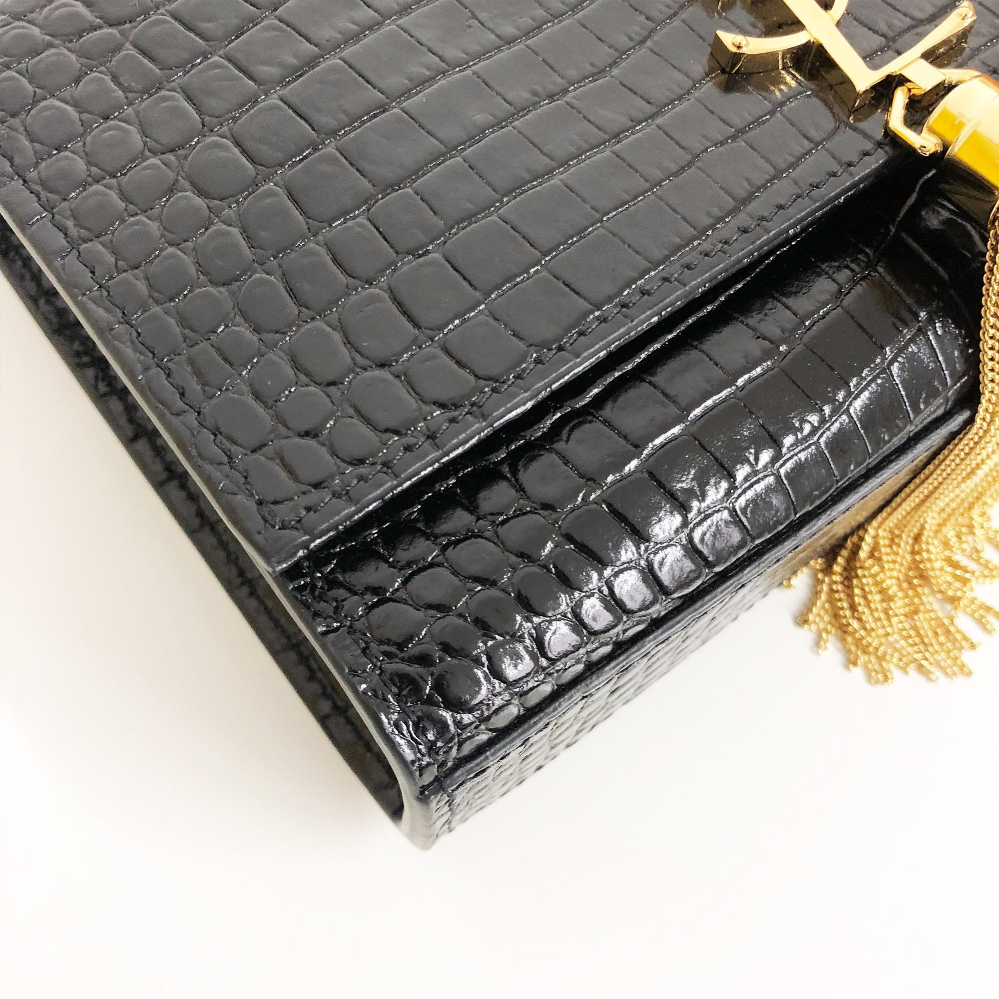 Saint Laurent  Kate Small Crocodile Embossed Bag