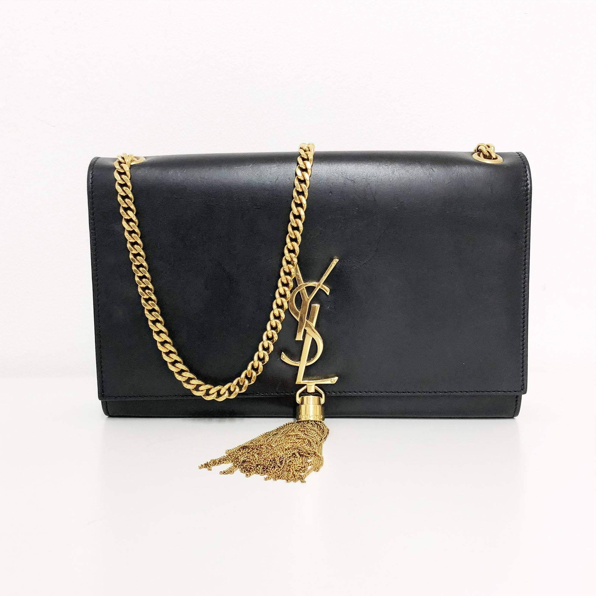 Yves Saint Laurent Black Calf Leather Medium Cassandre Tassel Bag