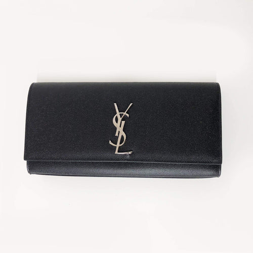 Yves Saint Laurent  Black Cassandre leather clutch