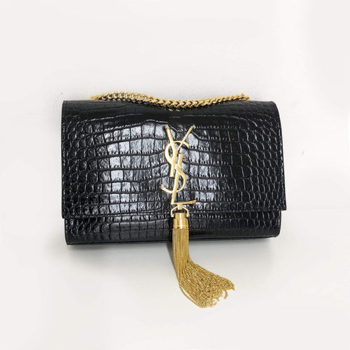 Yves Saint Laurent  Kate Small Crocodile Embossed Bag With Tassel