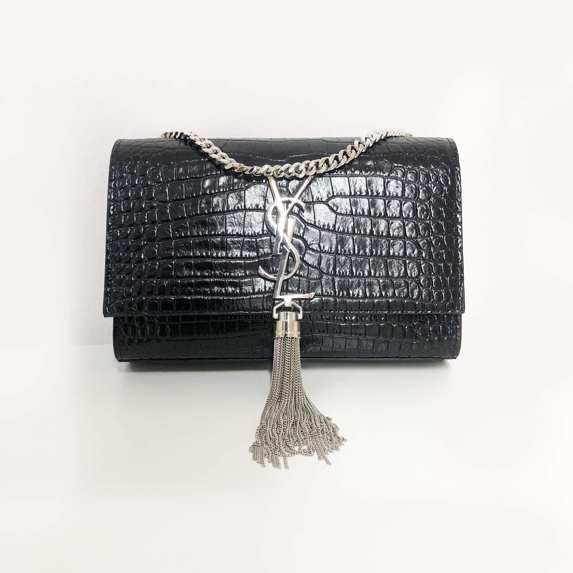 Yves Saint Laurent Kate Small Crocodile Embossed Bag With Tassel SHW ... 1af32fd410818