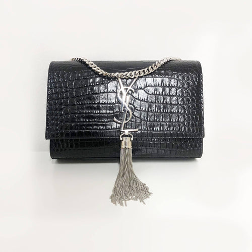Saint Laurent Kate Small Crocodile Embossed Bag with Tassel