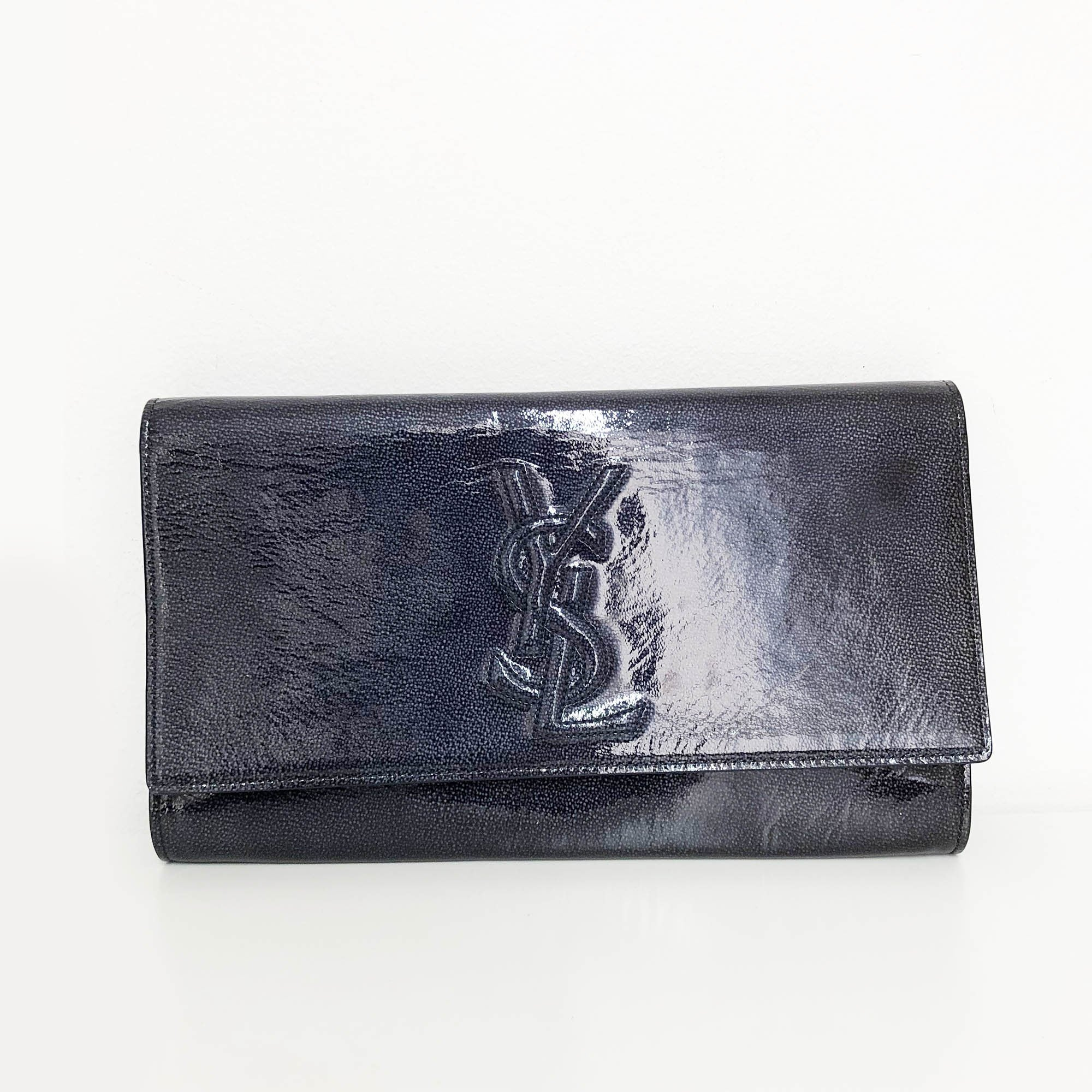 Yves Saint Laurent Printed Patent Leather Belle De Jour Flap Clutch