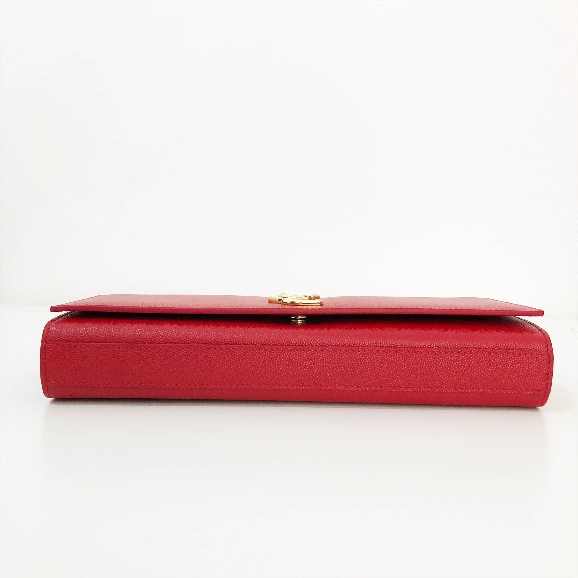 Yves Saint Laurent Red Cassandre Leather Clutch
