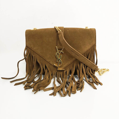 43293ef1b1 Yves Saint Laurent Suede Fringe Monogram Crossbody Bag