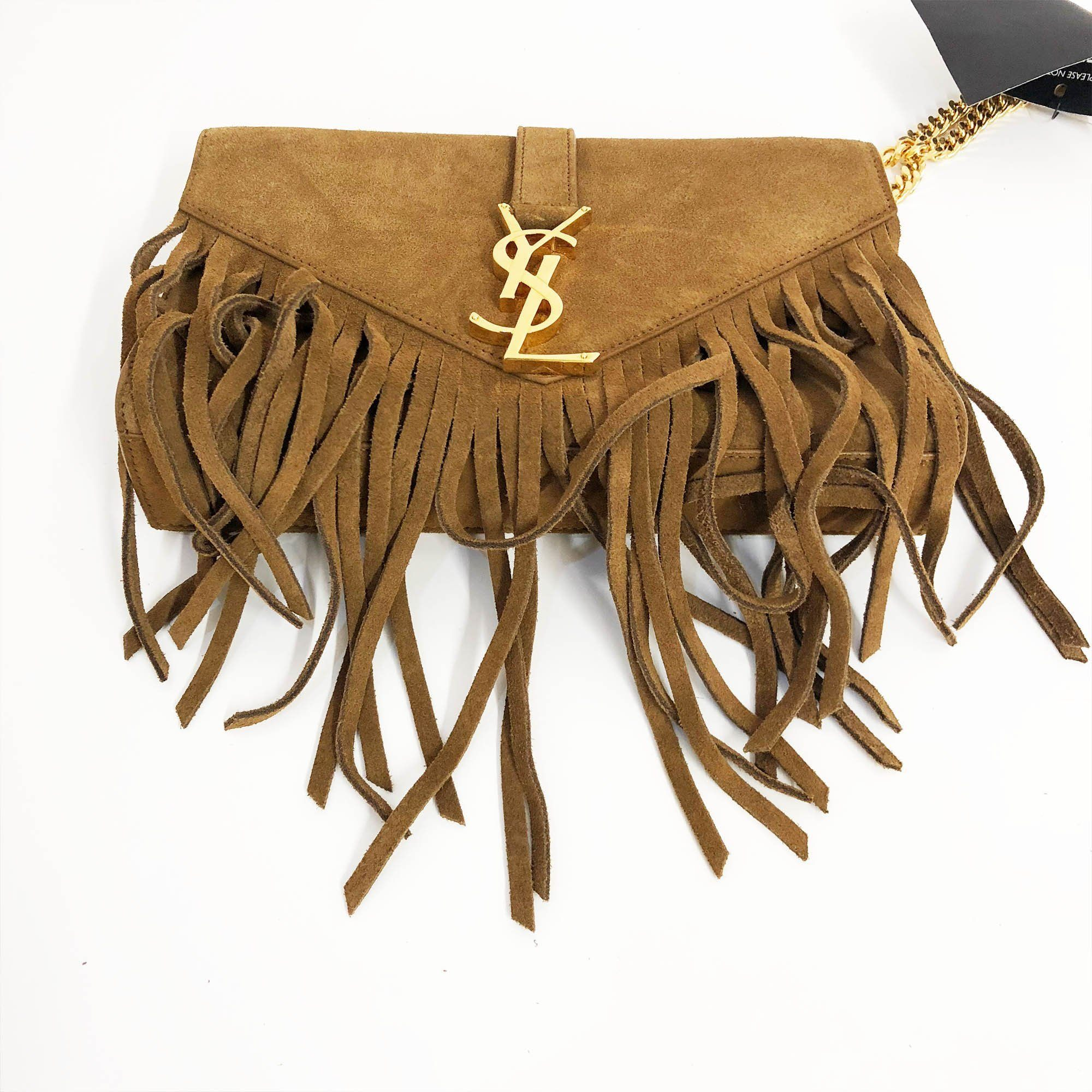 Yves Saint Laurent Suede Fringe Monogram Crossbody Bag