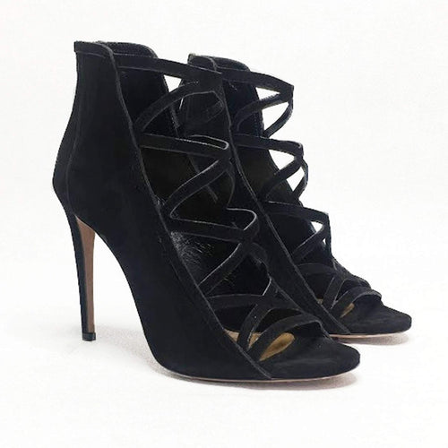 Aquazzura Black Suede Sandals Heels
