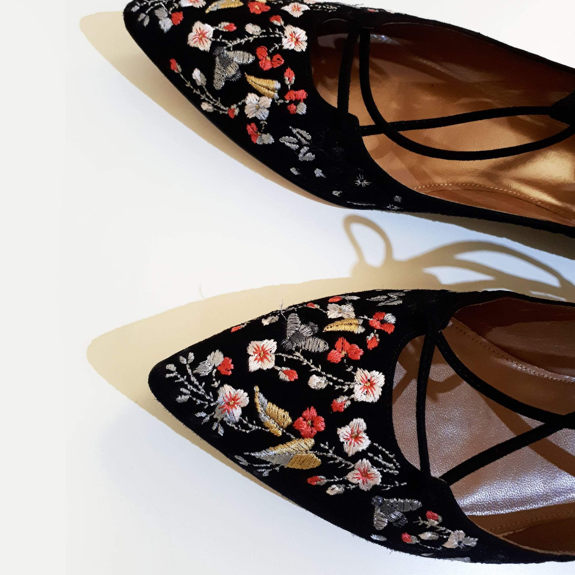 Aquazzura Belgravia Embroidered Suede Lace Up Flats