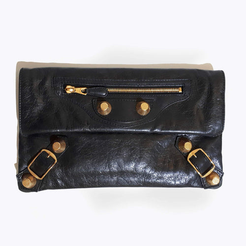 Balenciaga Black Leather Gold hardware Envelope Clutch
