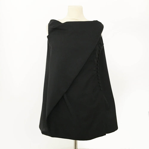Balenciaga Black Sleeveless Button Down Dress