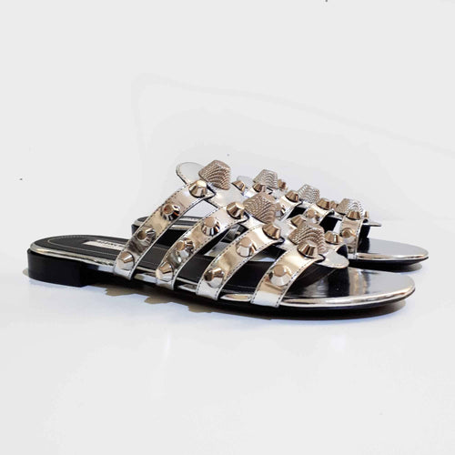 Balenciaga Stud Embellished Metallic Leather Sandals