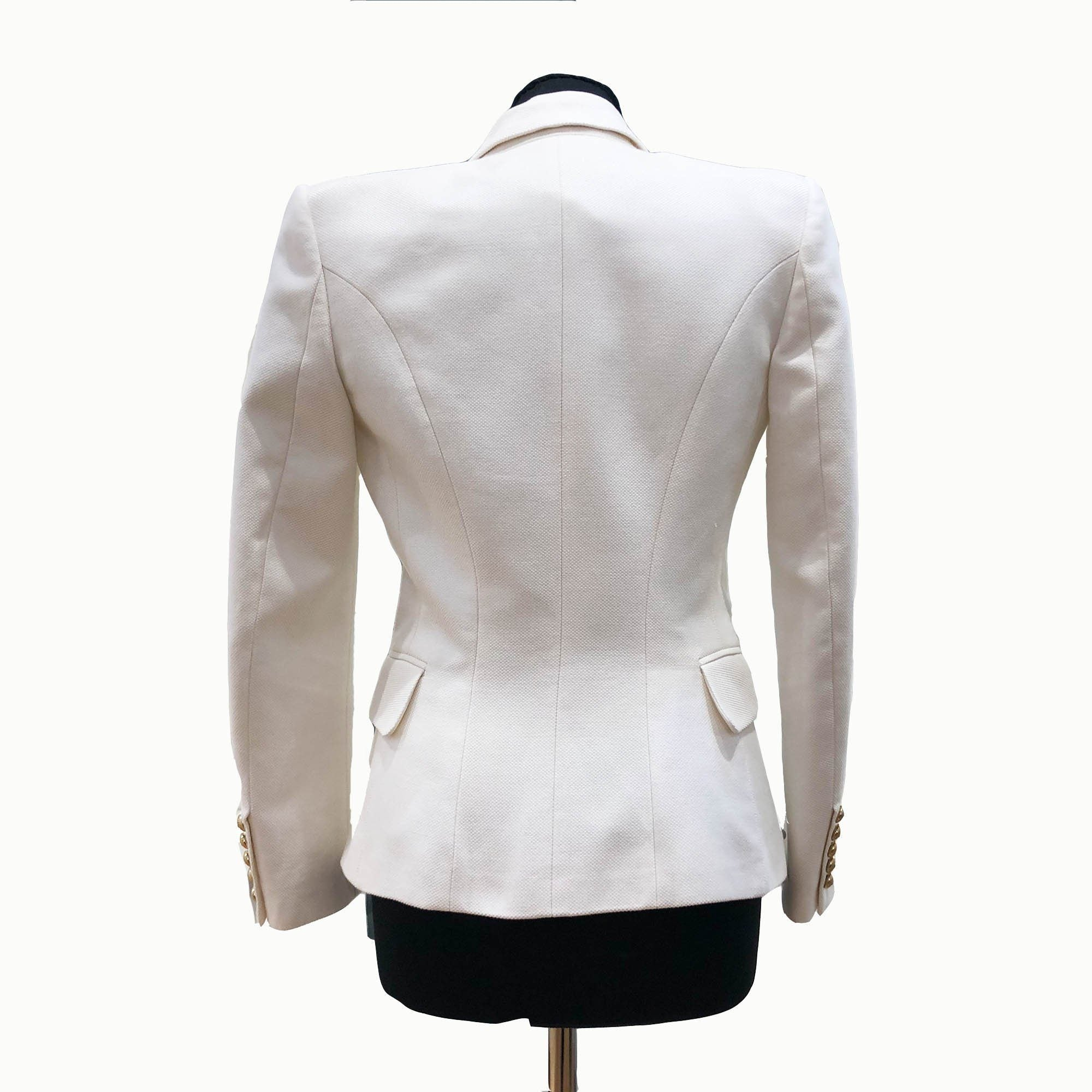 Balmain Double-breasted peak-lapel piqué ivory blazer