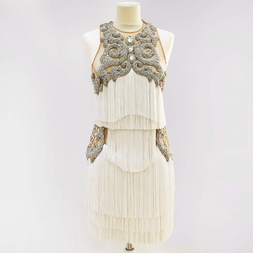 Balmain Off-white Crystal and Fringe Detail Dress
