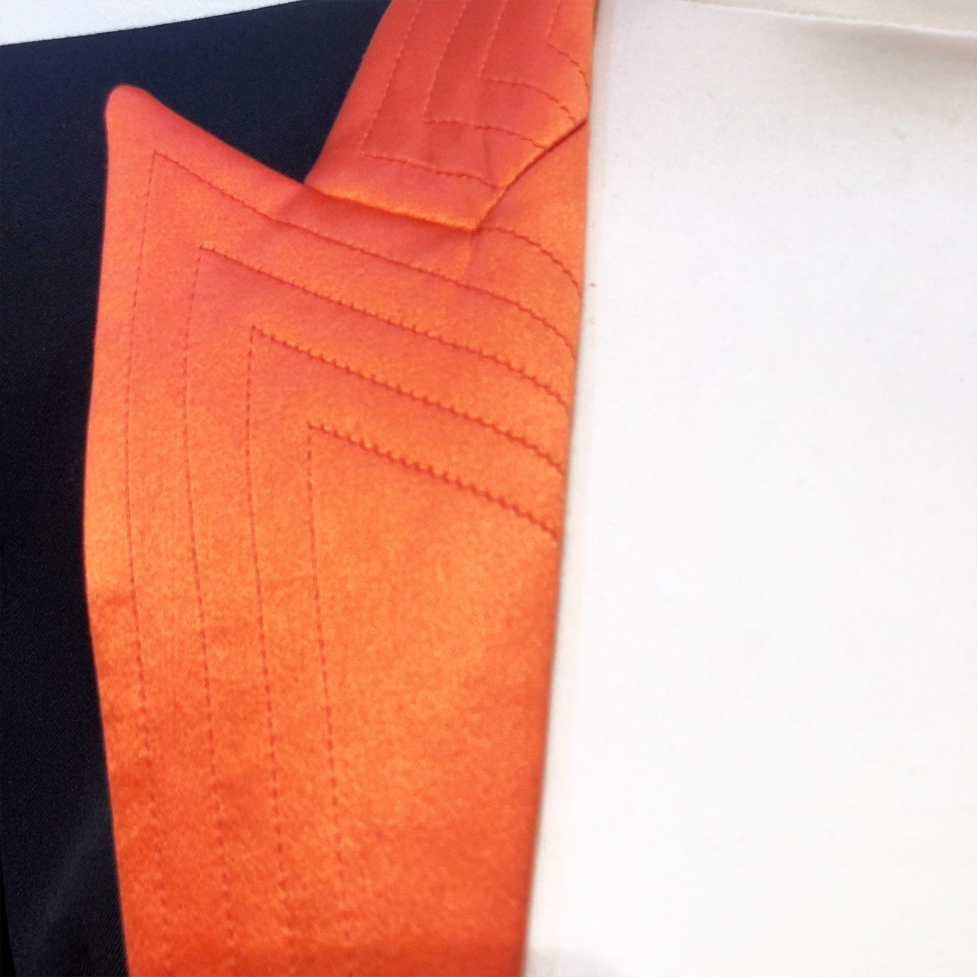 Balmain Black Blazer with Orange Lapel
