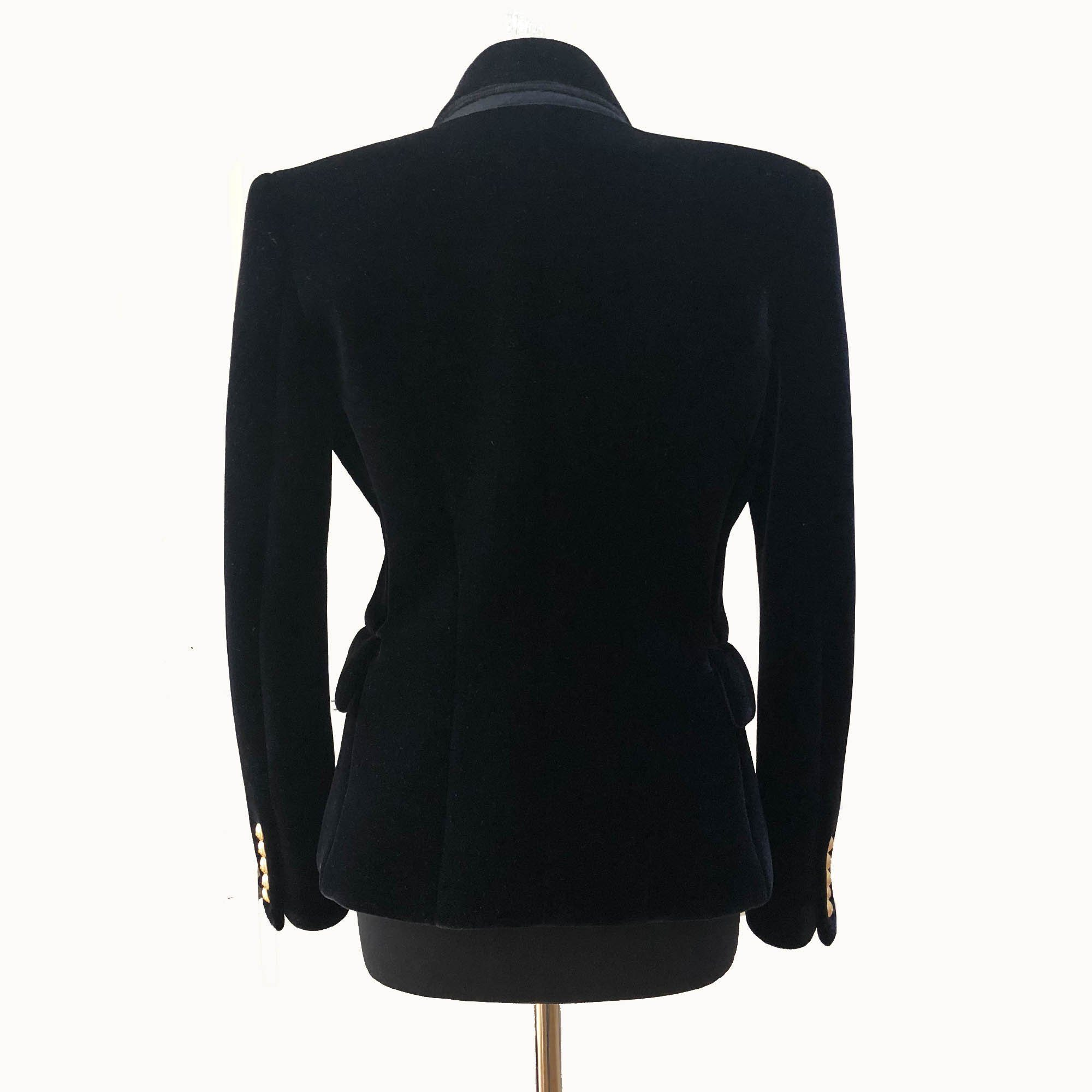 Balmain Double-breasted Peak-lapel Piqué Black Velvet Blazer