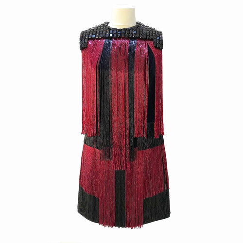 Balmain Red and Black Fringe Detail Dress