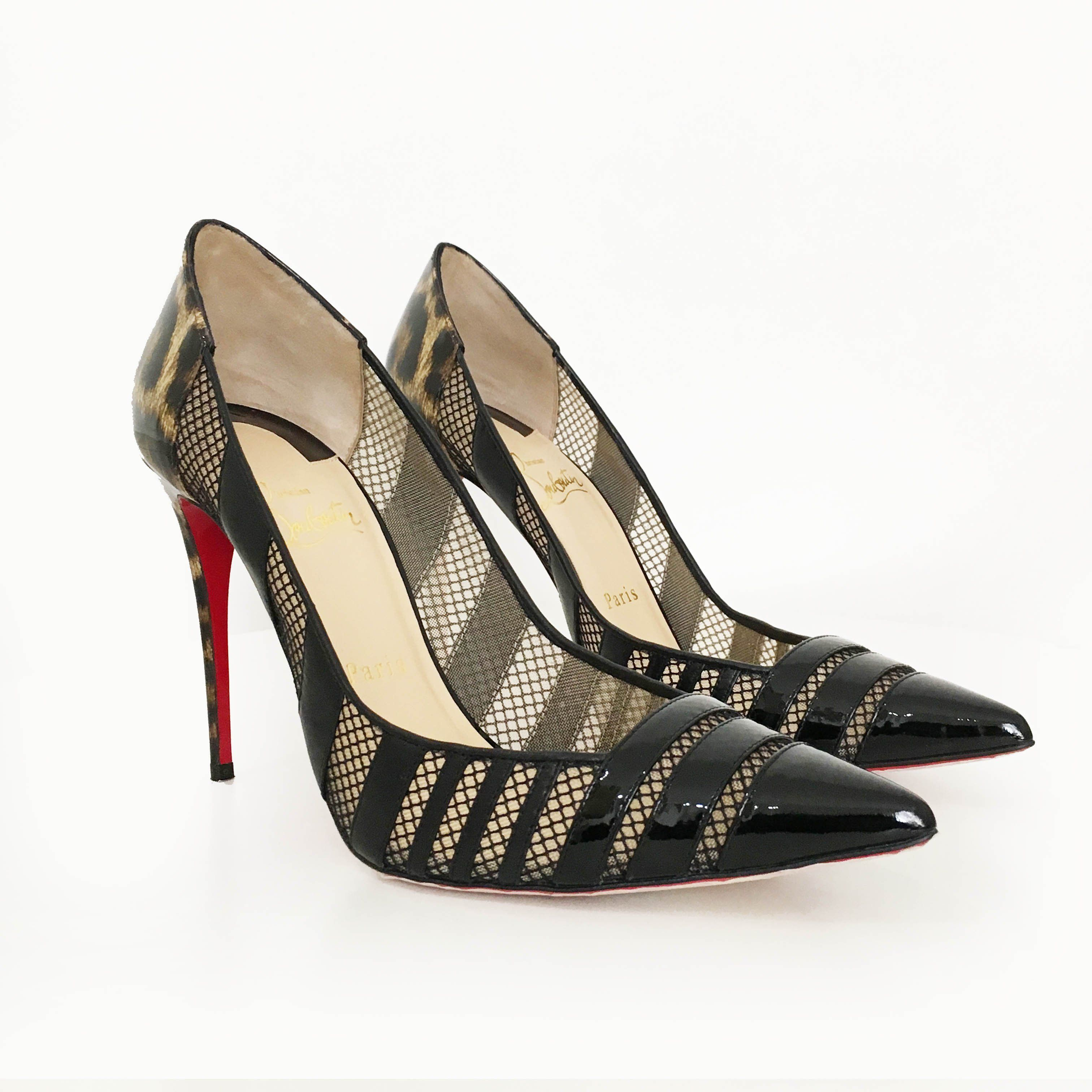 Christian Louboutin Bandy 100 Black Patent Leopard Mesh Stripe Pumps