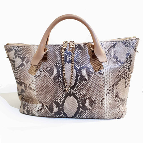 Chloé Beige Python and Leather Medium Baylee Tote