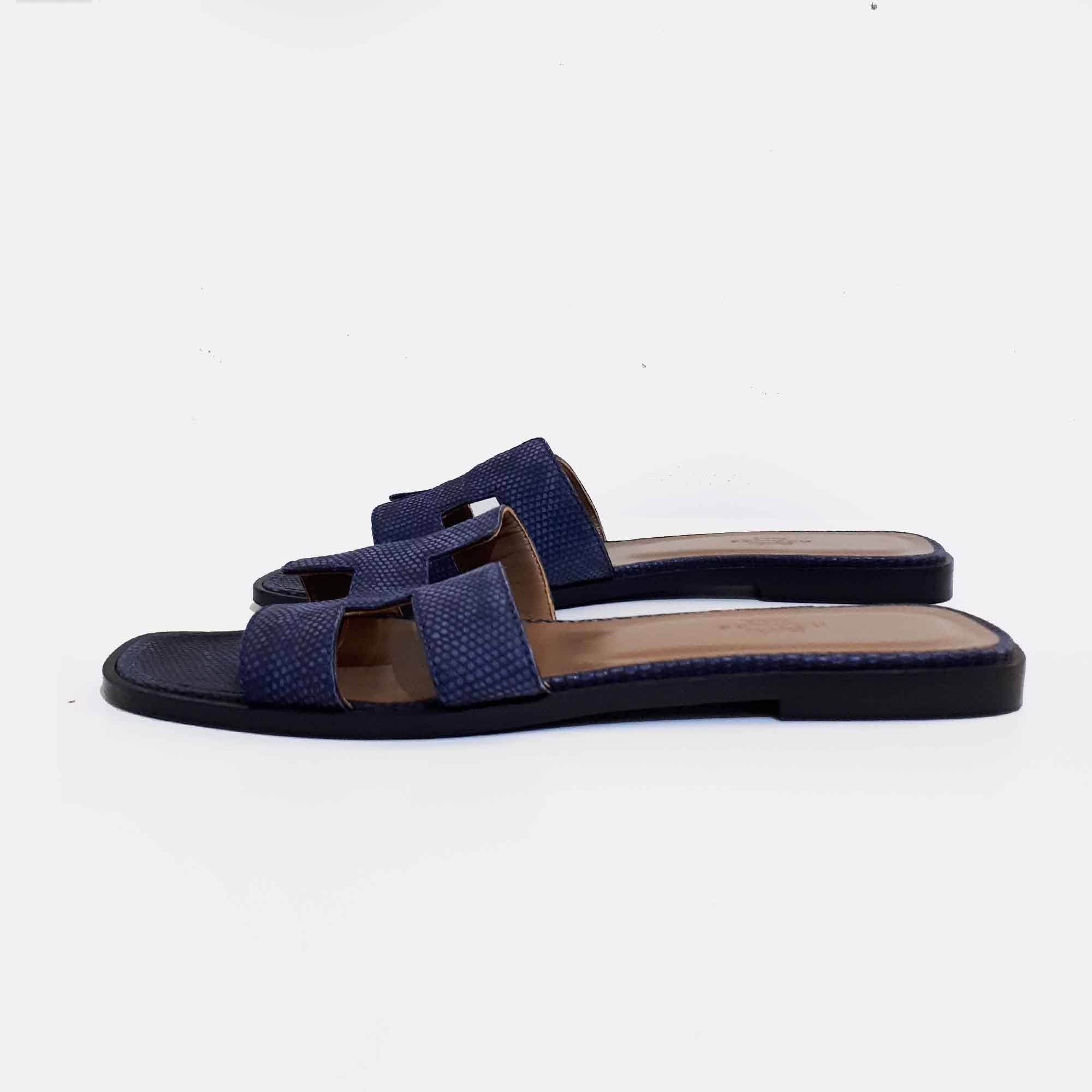 Hermes Blue Oran Matte Leather Slippers