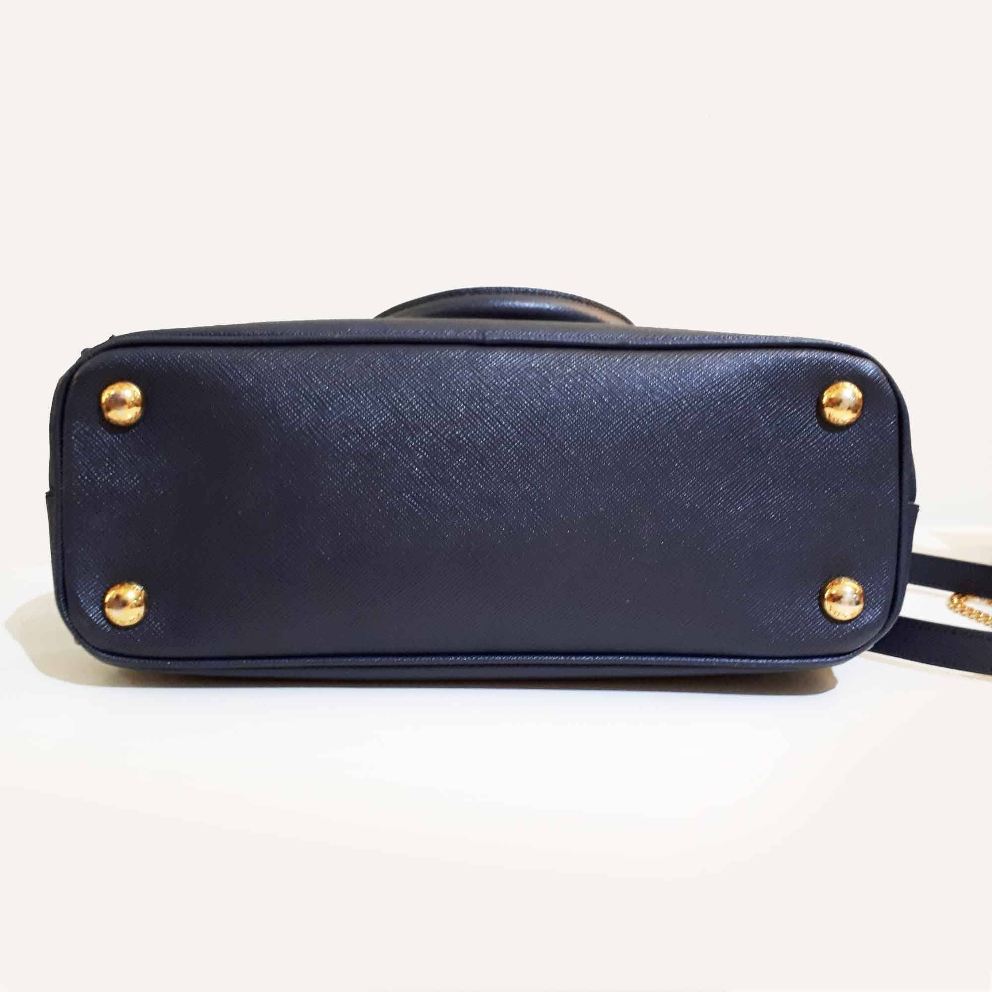 Prada Navy Saffiano Lux Leather Double Zip Tote