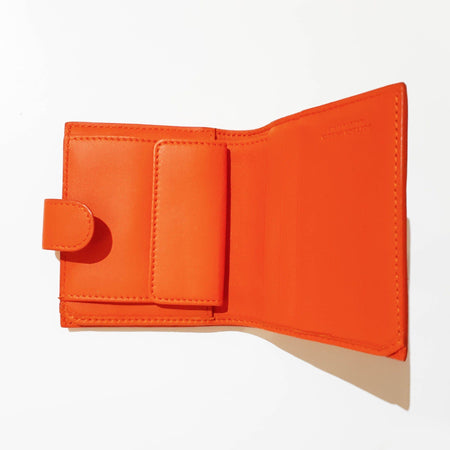 Bottega Veneta Intrecciato Orange Leather Wallet