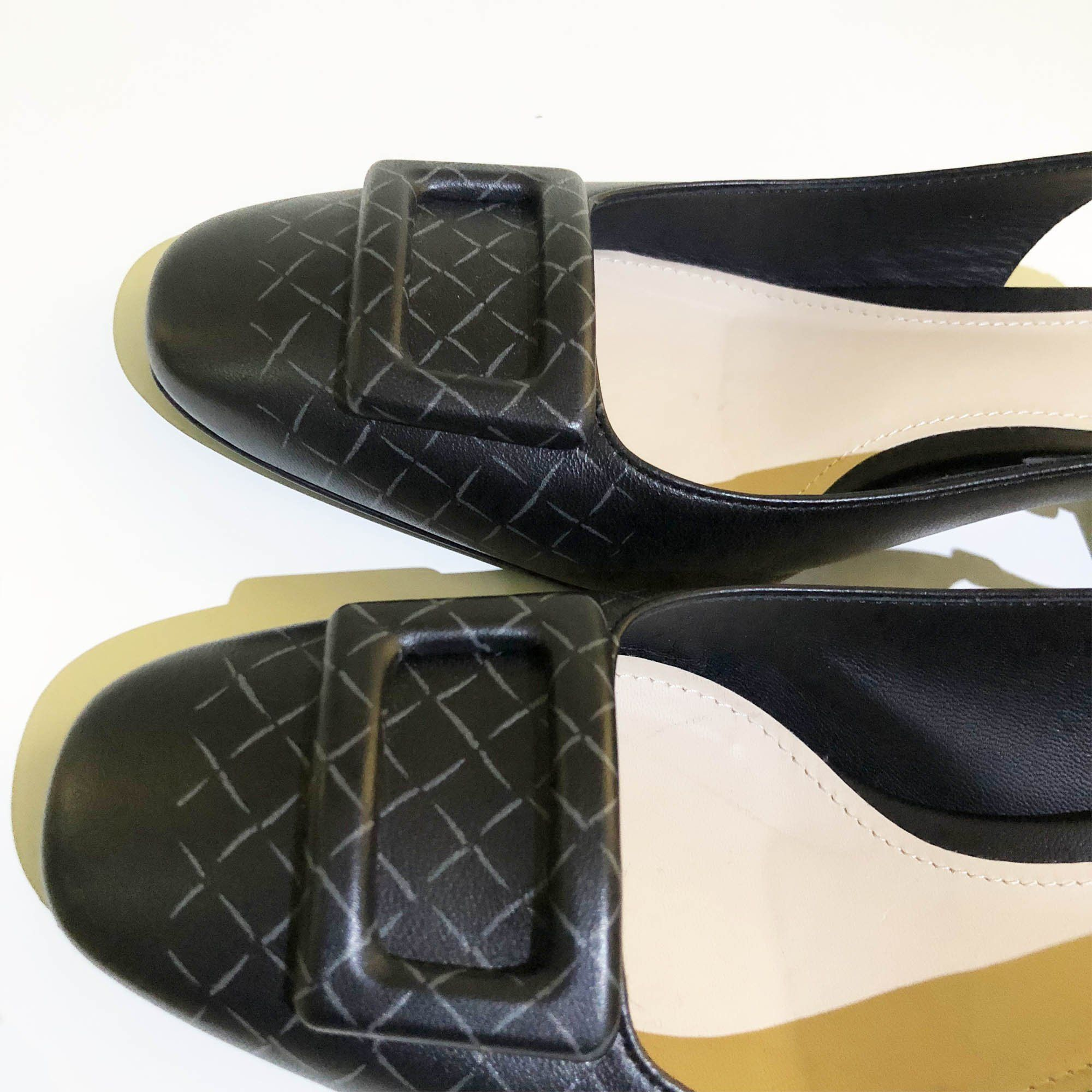 Bottega Veneta Cherbourg Intrecciato-Print leather pumps