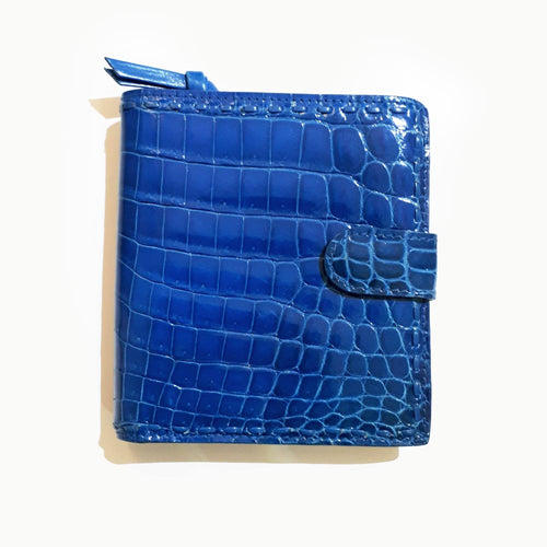 Bottega Veneta Blue Crocodile Leather Wallet
