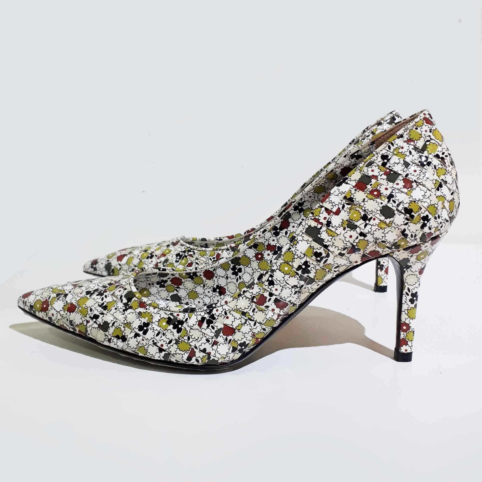 Bottega Veneta Floral Print Intrecciato Pointed Toe Pumps