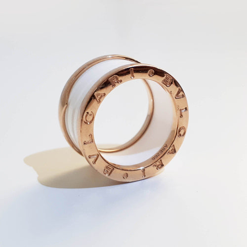 Bulgari B.Zero1 Band White Ceramic Gold Ring