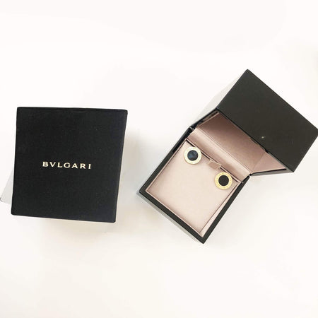 Bulgari 18K Yellow Gold Black Onyx Stud Earring
