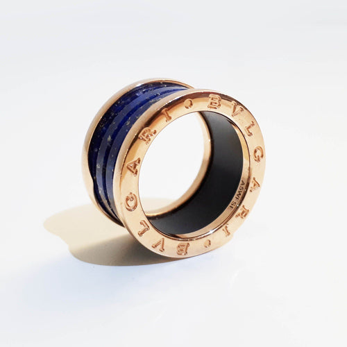 Bulgari B.Zero1 Band Blue Marble Gold Ring
