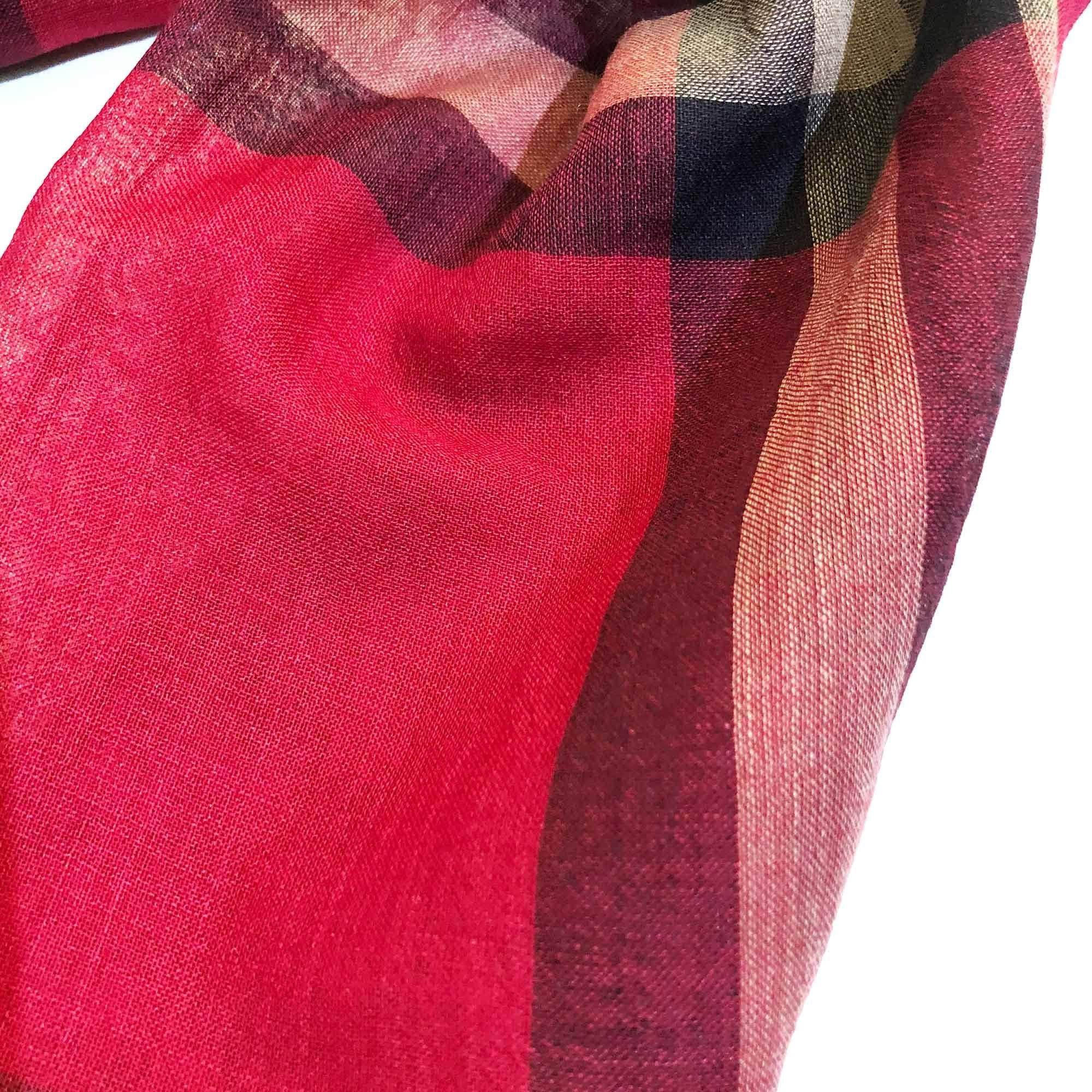 Burberry Wool and Silk Red Scarf