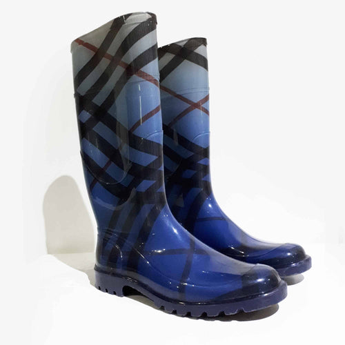 Burberry Nova Check Blue Rain Boots