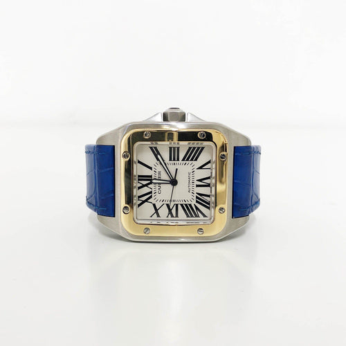 Cartier Stainless Steel Crocodile Santos 100 Automatic Watch
