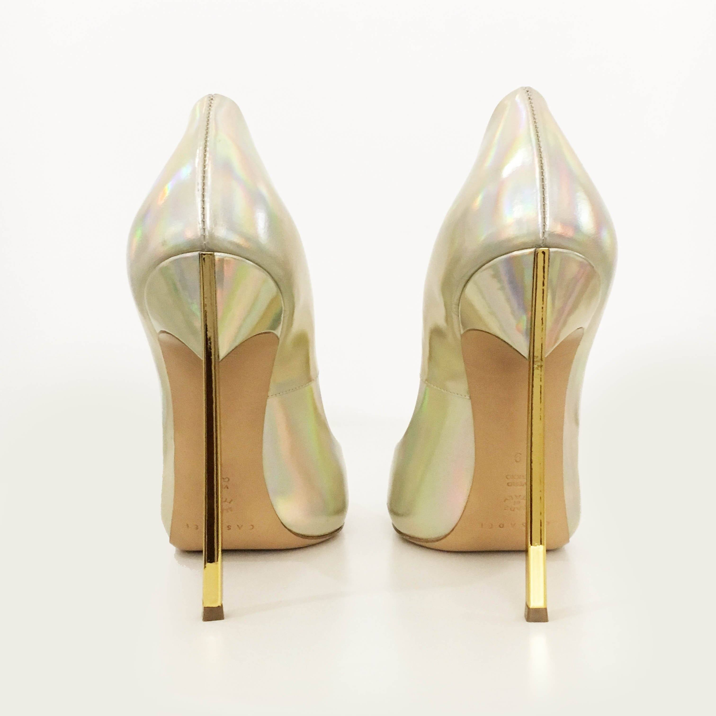 Casadei Mirrored Gold Blade Pointed-Toe Pumps