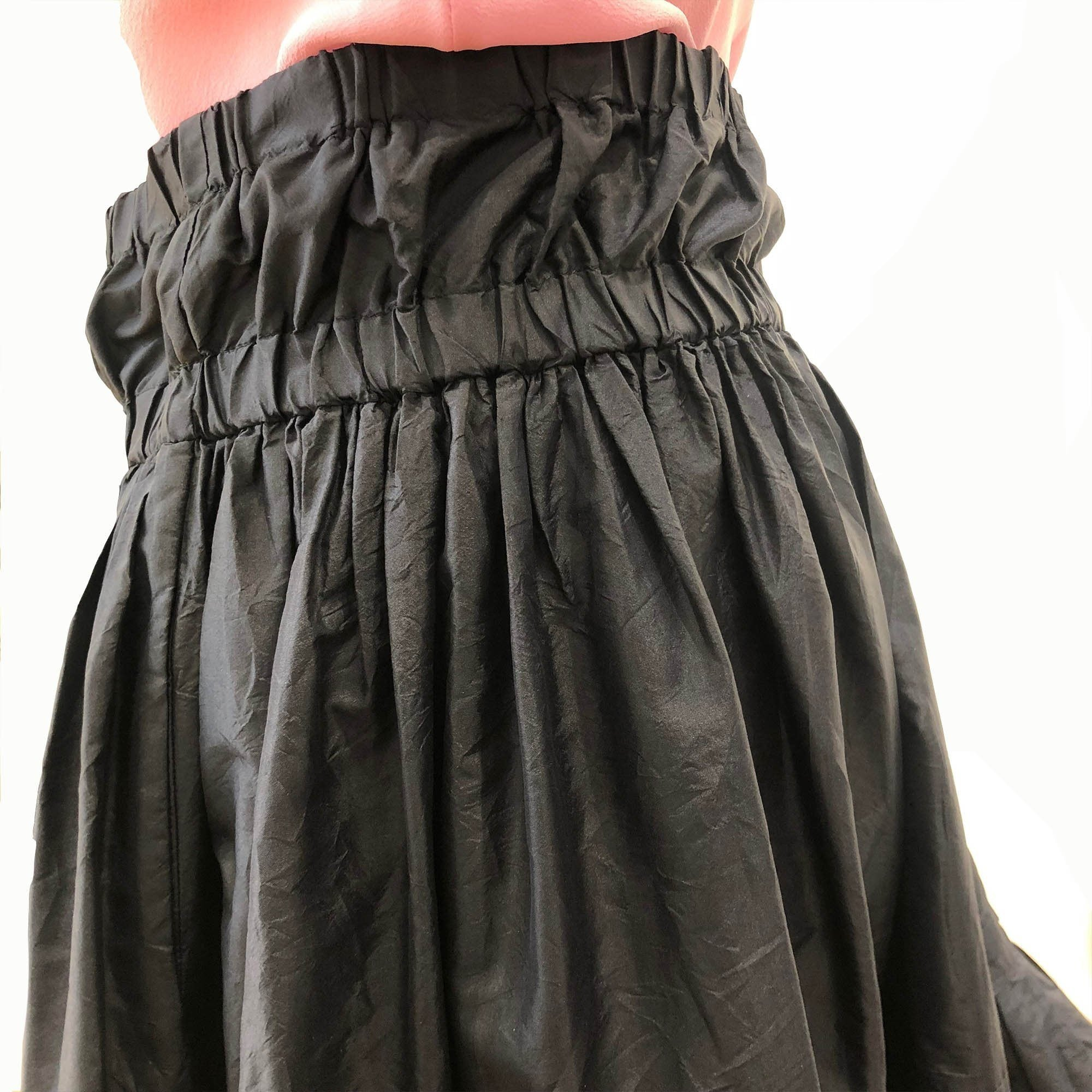 Roberto Cavalli Pleated Black Flare Ruffle Skirt