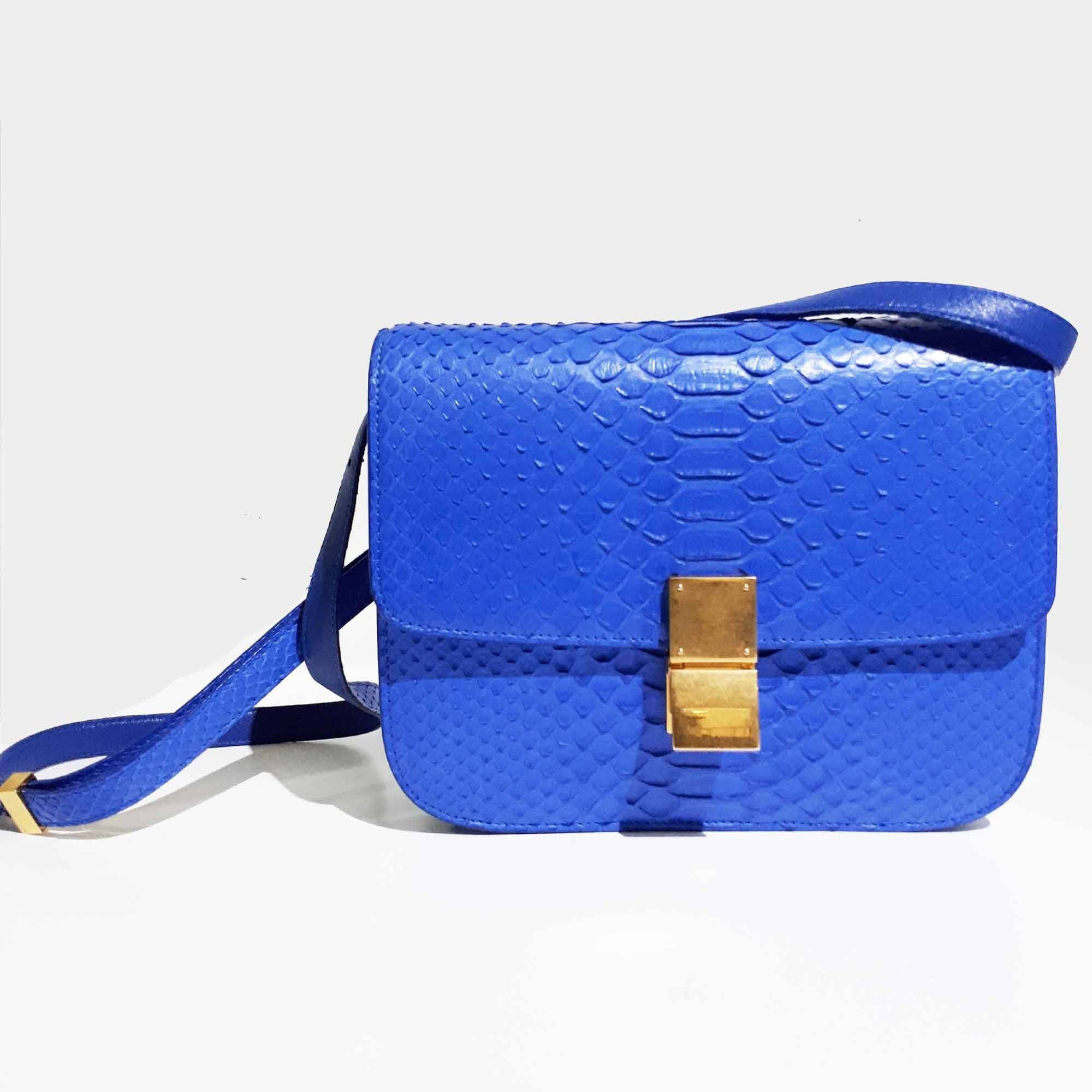 Celine Blue Python Box Bag Medium