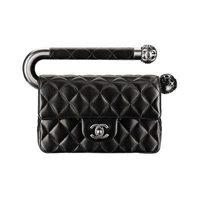 Chanel Black Mini Flap Bag with Metal Handle