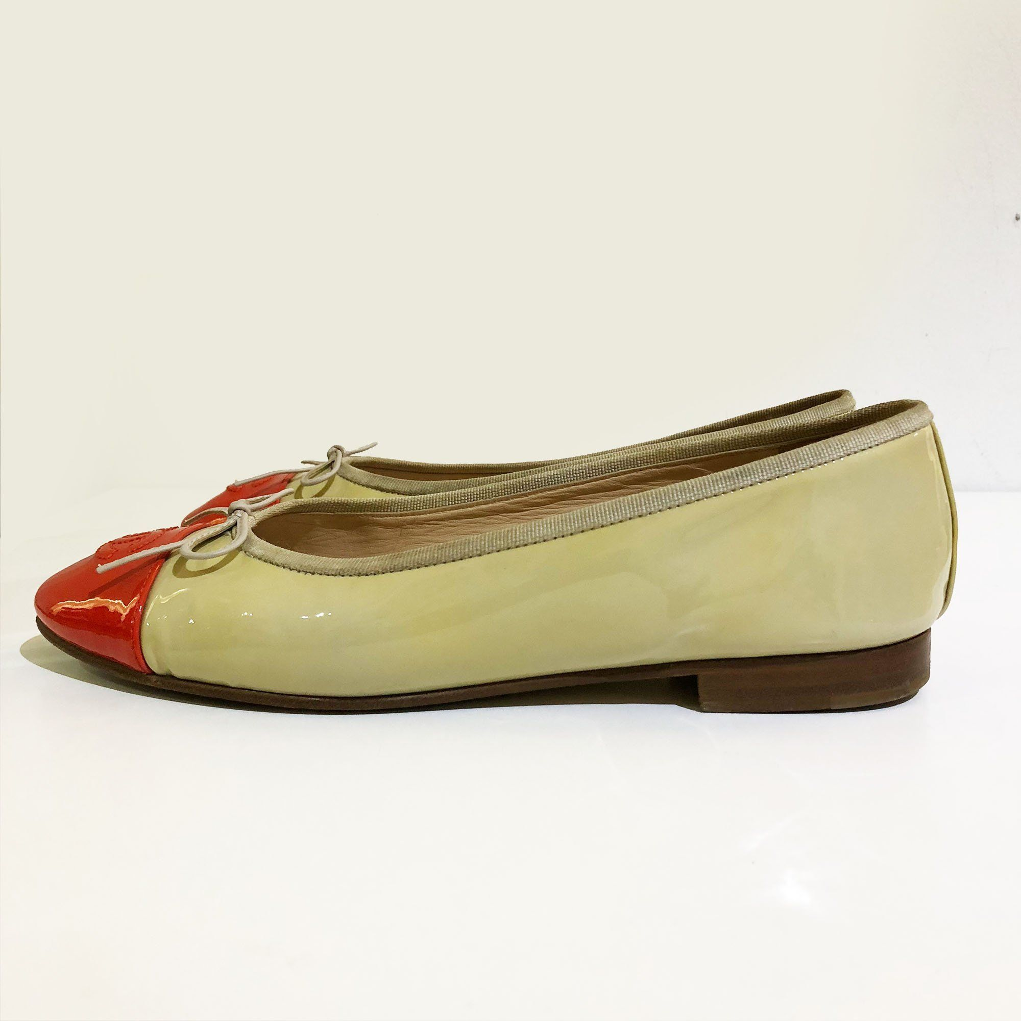 Chanel Ballerina in Beige and Red Orange Patent Leather
