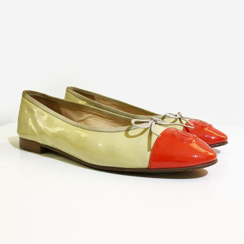 ea4b9ff9d173 Chanel Ballerina in Beige and Red Orange Patent Leather