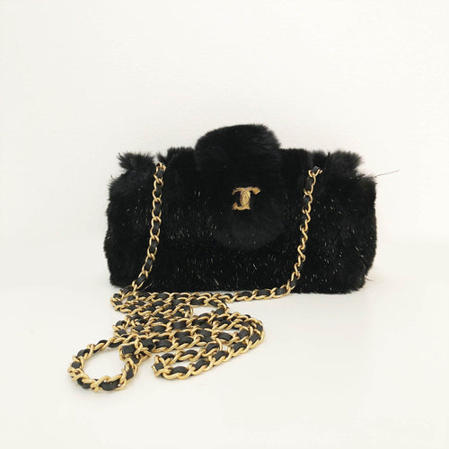 Chanel Black Rabbit Fur Crossbody Bag