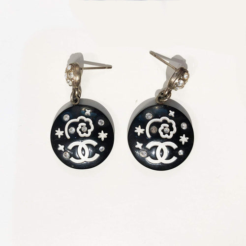 Chanel Black Round Earrings