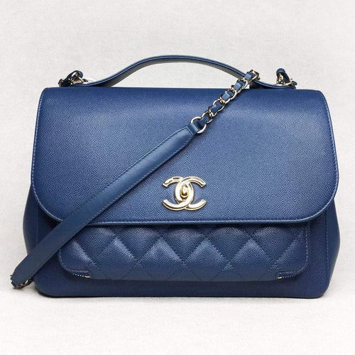 Chanel Blue Flap Bag Top Handle