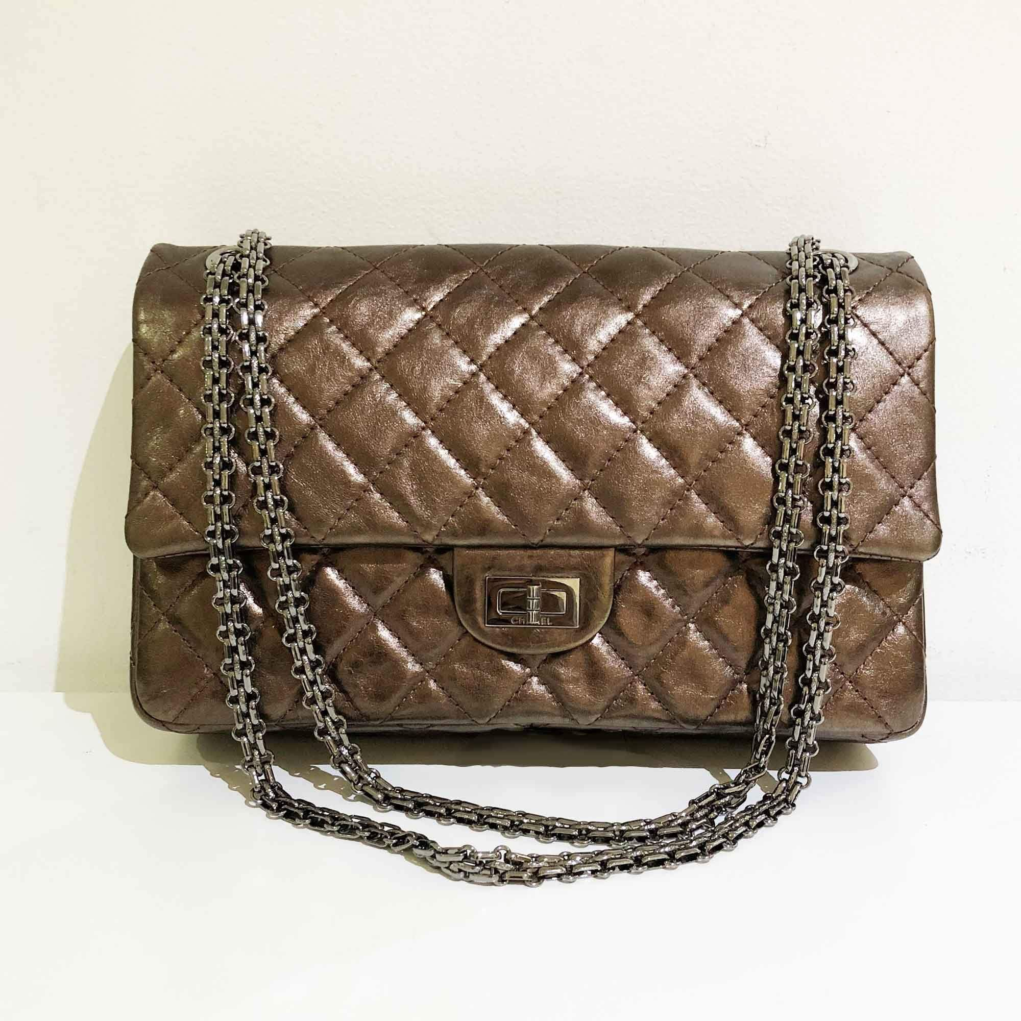 91c06081005a Chanel Bronze Leather Medium 2.55 Reissue Double Flap Bag – Garderobe