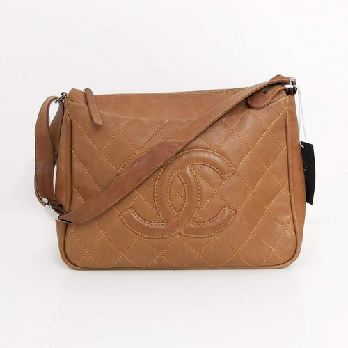 Chanel Brown Quilted CC Satchel Style Bag