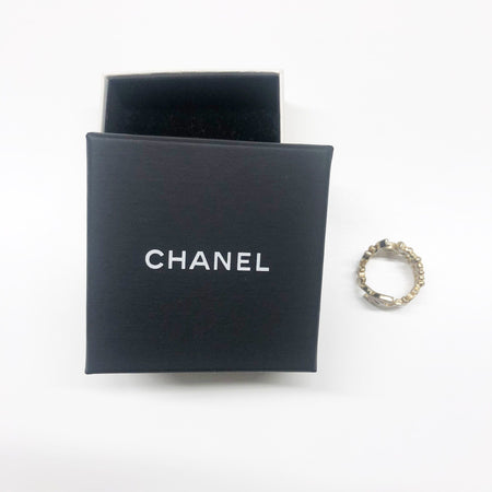 Chanel Gold CC Logo Crystal Ring